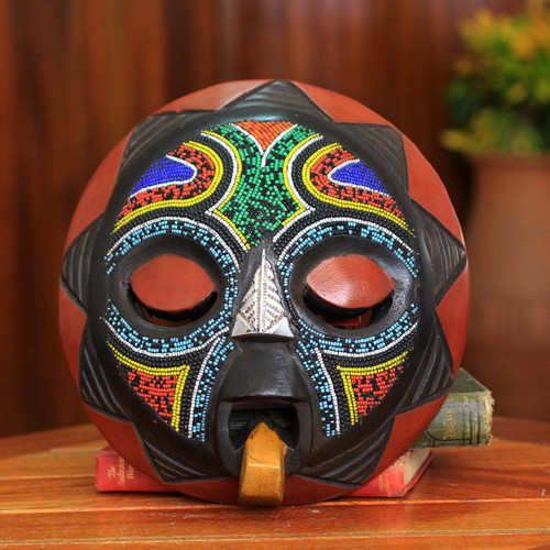 African Beaded Wood Mask Original Artisan Design 'Asomdwoe II'