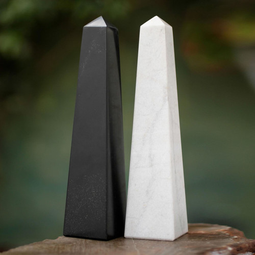 Geometric Onyx Obelisk Sculptures Pair of 2 'Day and Night'
