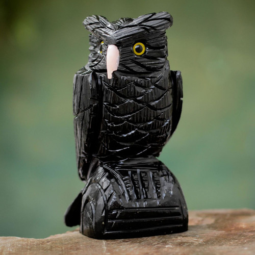 Onyx Bird Sculpture 'Owl Guardian'
