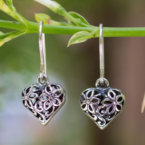 Sterling silver flower earrings 'Blossoming Heart'