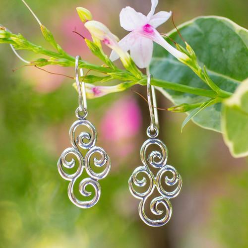 Sterling silver dangle earrings 'Billowing Clouds'