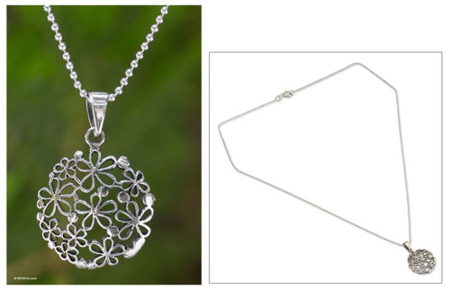 Floral Sterling Silver Pendant Necklace 'Hydrangea'