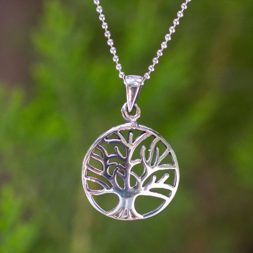 Handcrafted Sterling Silver Tree Pendant Necklace 'Living Forest'