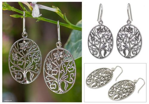 Sterling silver dangle earrings 'Flowering Tree'
