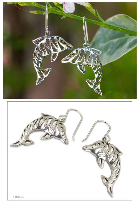 Sterling silver dangle earrings 'Tiger Dolphin'