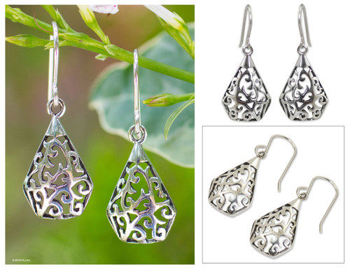 Sterling Silver Dangle Earrings from Thailand 'Rain Forest Song'