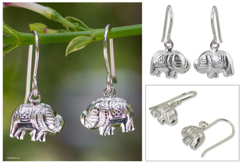 Sterling silver dangle earrings 'Elegant Elephant'