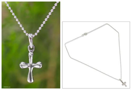 Sterling Silver Pendant Necklace 'Modern Cross'