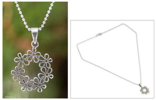 Handcrafted Floral Sterling Silver Pendant Necklace 'Floral Tiara'