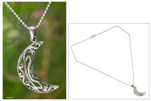 Sterling Silver Pendant Necklace from Thailand 'Filigree Moon'