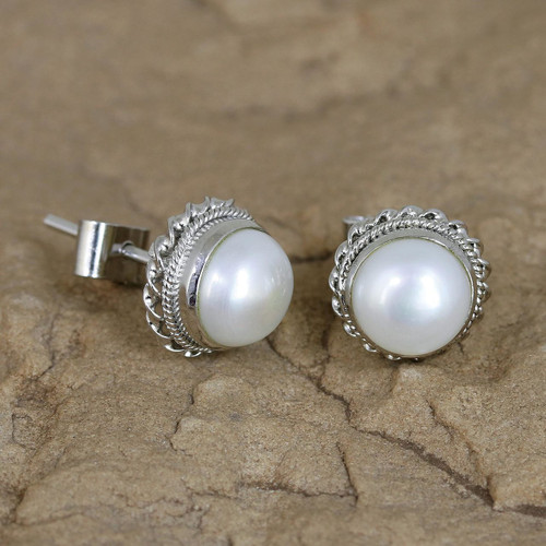 Cultured Pearl Earrings in Sterling Silver from India 'Blossoming Purity'