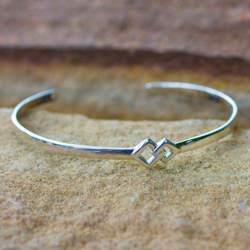 Modern Sterling Silver Cuff Bracelet 'Hold My Hand'