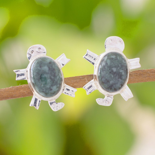 Jade button earrings 'Marine Turtles'
