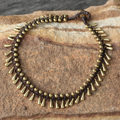 Handmade Hill Tribe Brass Beaded Anklet 'Sweet Charm'