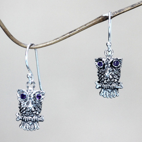 Sterling Silver and Amethyst Bird Earrings 'Baby Owl'