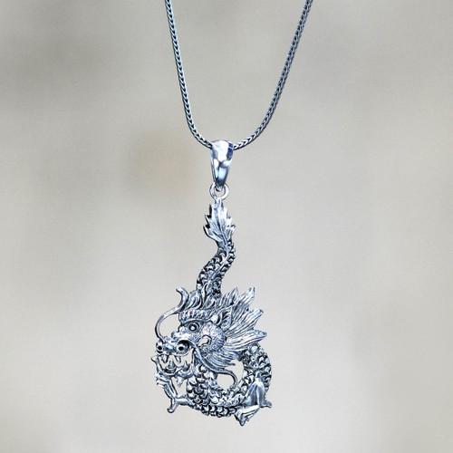 Sterling Silver Pendant Necklace 'Dragon Splendor'