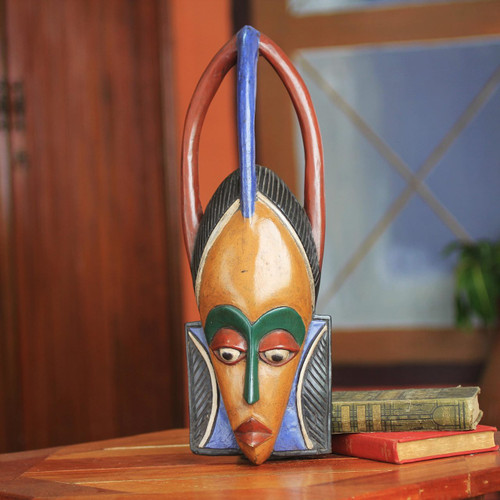 Love African Mask Crafted by Hand 'Odo'
