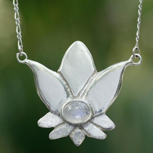 Rainbow moonstone flower necklace 'Virgo Lotus'