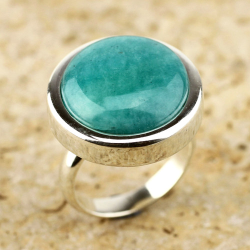 Amazonite cocktail ring 'Unique Minimalism'