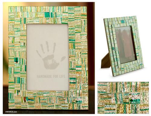 Handmade Mosaic Glass Photo Frame 'Summer Memories'