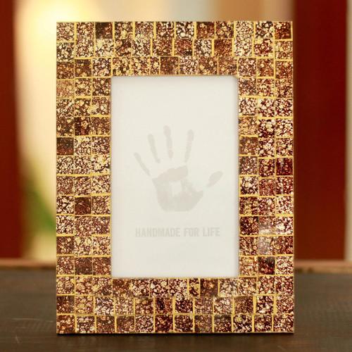 Glass mosaic photo frame 'Golden Fireflies'