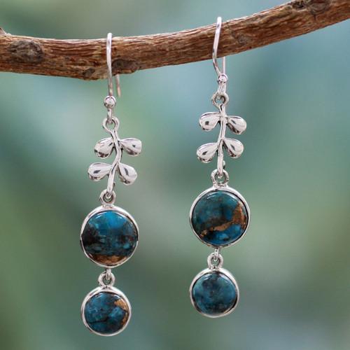 Sterling silver dangle earrings 'Sweet Blueberries'