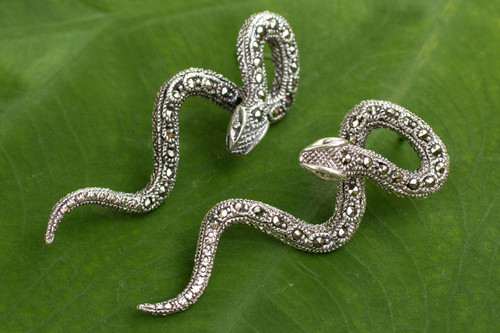 Handcrafted Long Marcasite Post Earrings 'Sinuous Serpents'