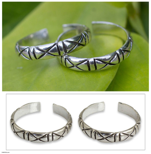 Unique Modern Sterling Silver Toe Ring (Pair) 'X-treme Beauty'