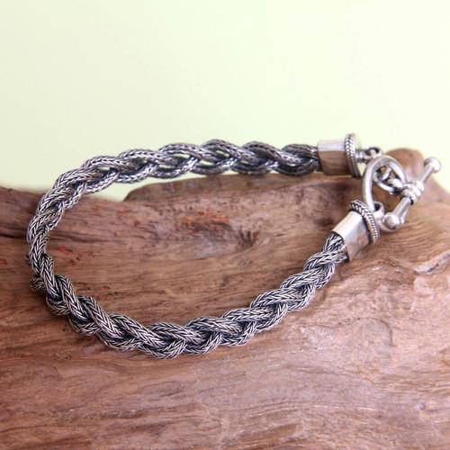 Men's Sterling 925 Silver Braided Bracelet 'Naga Braid'