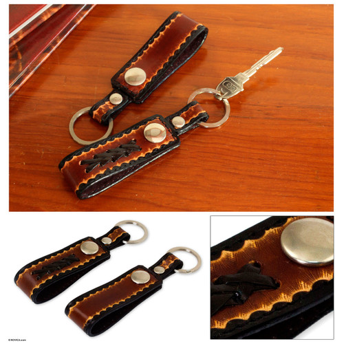 Hand Tooled Brown Leather Key Rings (Pair) 'Key to Success in Brown'