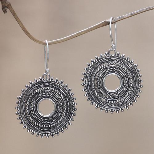 Sterling silver dangle earrings 'Dazzling Moons'