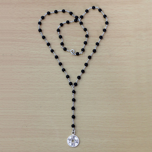 Onyx and Sterling Silver Chinese Coin Y Necklace 'Good Fortunes'