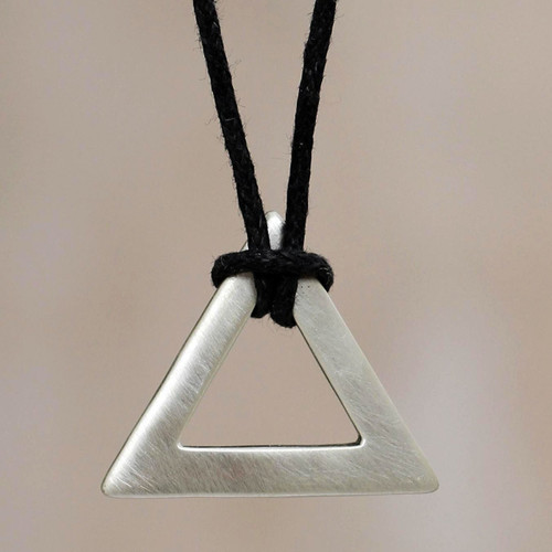 Men's sterling silver necklace 'Perfect Triangle'