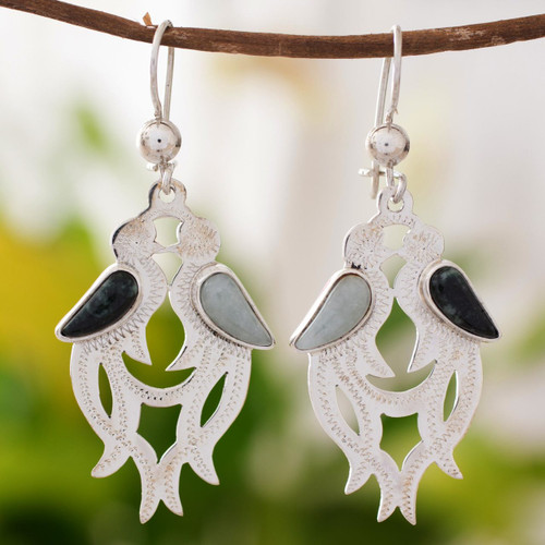 Jade dangle earrings 'Quetzal In Love'