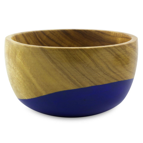 Dip Painted Hand Carved Wood Bowl (Small) 'Spicy Blue'
