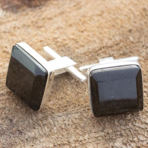 Black jade cufflinks 'Maya Minimalist'