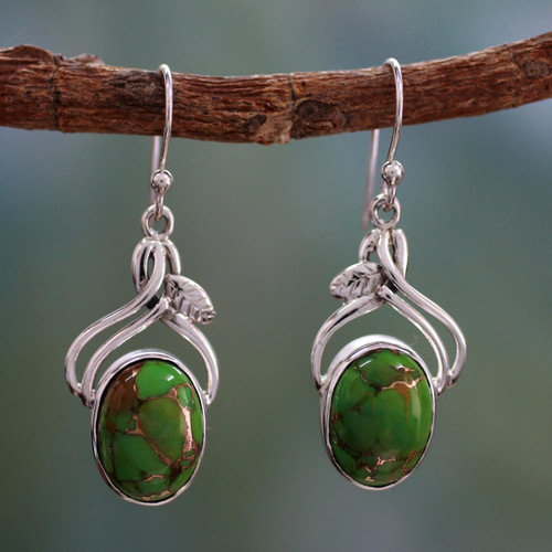 Handcrafted Sterling Silver Earrings from India 'Green Dew'