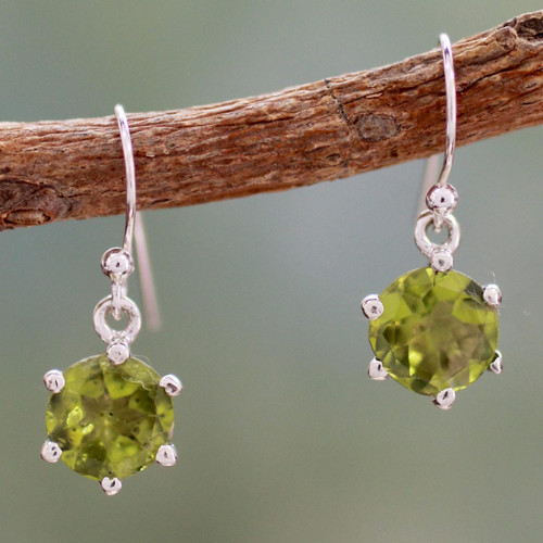 Handcrafted Sterling Silver and Peridot Earrings 'Lime Solitaire'
