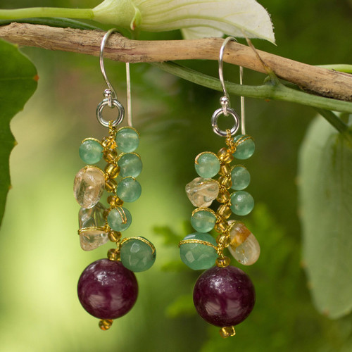 Handcrafted Citrine and Quartz Cluster Earrings 'Sweet Berries'