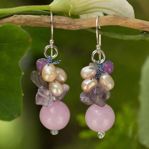 Handcrafted Pearl Amethyst Quartz Cluster Earrings 'Sweet Lavender'