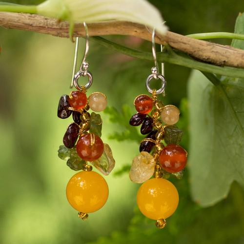 Handmade Garnet Carnelian Citrine Cluster Earrings 'Sweet Tropics'