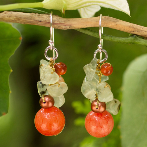 Handcrafted Pearl Carnelian Prehnite Cluster Earrings 'Spicy Peach'