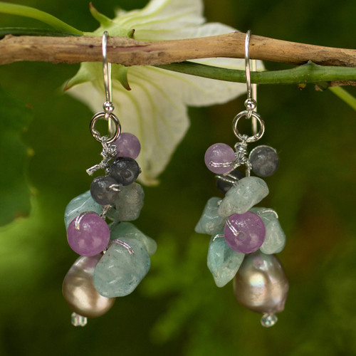 Pearl Aquamarine Quartz Cluster Earrings 'Clover'
