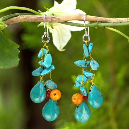 Unique Turquoise Colored Handcrafted Earrings with Carnelian 'Tropical Sea'