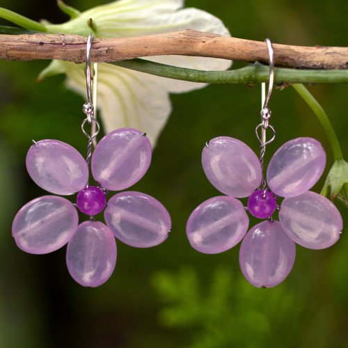 Handmade Purple Quartz Flower Earrings 'Lilac Chang Mai Flower'