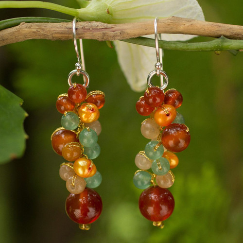 Thailand Yellow Pearl Carnelian Quartz Cluster Earrings 'Golden Vineyard'