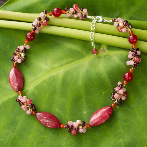 Artisan Crafted Pearl and Garnet Choker Necklace 'Red Lily Garland'