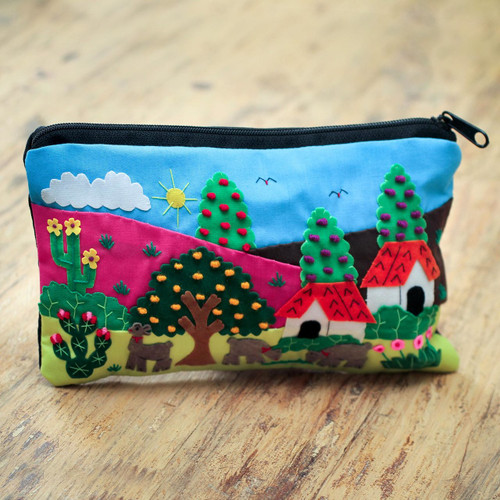Cotton Applique Folk Art Cosmetic Bag 'Country Scene'