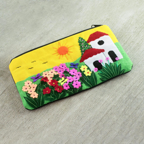 Andean Folk Art Cotton Applique Cosmetic Case 'Sunny Afternoon'