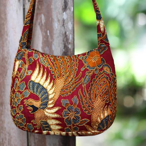 Beaded Red Cotton Batik Shoulder Bag 'King's Bird'
